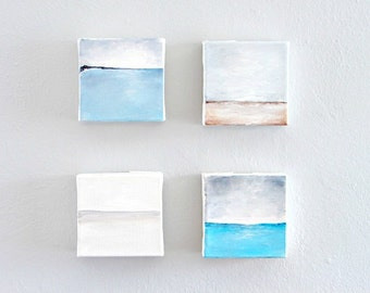 Original Abstract Acrylic Paintings, Set of 4 Art Blocks--Minimalist Home Decor Seascape Art--Soft Muted Color Palette for the Home