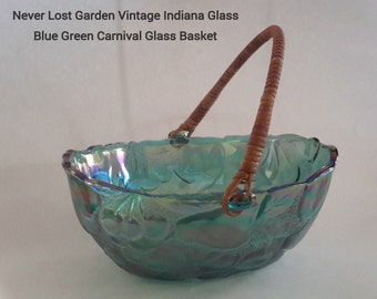 Carnival Green Blue Glass Fruit Basket With Bamboo Wicker Handle Indiana Glass Company Vintage