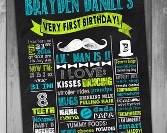Birthday Poster, Printable Birthday Poster, 1st Birthday Poster, Mustache Birthday Poster