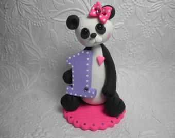 Personalized Baby Girl's First Birthday Panda Bear Cake Topper,First Birthday Gift,First Birthday Keepsake