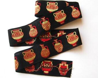 Vintage 50s 60s Embroidered Novelty Vase Urn Jug Dress Trim Red Yellow & Black 3 Yards