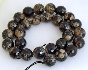 Full Strand AA Grade Black & Camel Lace Agate Round Faceted Beads 14mm
