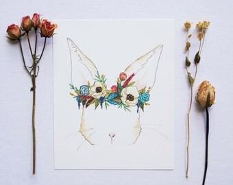 Brown Bunny - Animal Floral Crown Watercolor Print - 8x10