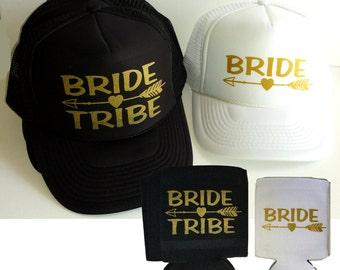 Single Set Bride Tribe Arrow Snapback Mesh Trucker Hat Cap & Matching Can Cover  Team Bride Bachelorette
