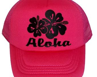 Hot Pink Aloha Hibiscus  Kid's Youth TODDLER Mesh Trucker Hat Cap Snapback Neon