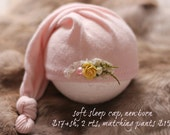ready to ship, newborn photography prop, upcycled long light pink sleep cap hat with flowers, newborn baby girl prop, newborn sleep cap