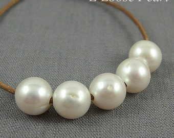 luster Nugget Large Hole Pearl earrings Freshwater Pearls Necklace Round Potato pearl White Large Pearl 11.5-12.5mm 5 Pieces 2mm Hole