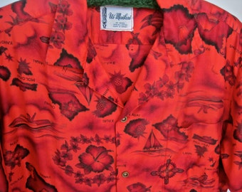 Vintage Hawaiian Shirt 50s UI MAIKAI Bright Red Cotton Made in Hawaii Map Hawaiian Islands Souvenir Collectible Size MEDIUM Great Condition
