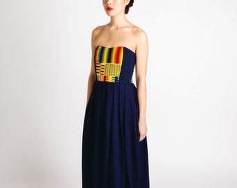 Denim Kente African Print Strapless Maxi Dress