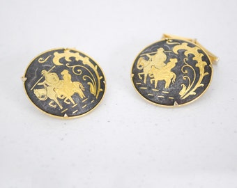 Vintage 1930s Siam Warrior Brass Cuff Links