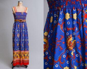 70s Tribal Batik Floral Blue / Red Bohemian Strapless Prairie Maxi Dress