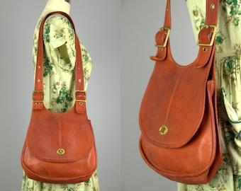 70s Coach Red Leather Saddle Brass Buckle Crescent Shape Bonnie Cashin Shoulder Purse