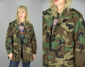 80s Camo Parka Camouflage US Army Military M-65 Field Jacket