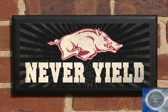 Arkansas Razorbacks Athletics Man Cave Never Yield Wall Art Home Decorators Catalog Best Ideas of Home Decor and Design [homedecoratorscatalog.us]
