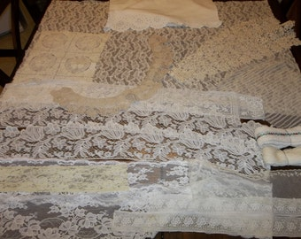 25 Piece Antique Lace Lot...Dolls..Altered Art...Scrapbooking...French...Broderie Aglaise
