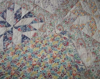 """Vintage Handmade Patchwork Quilt...64"""" by 79""""...Feed Sack Fabric...Good Condition...."""