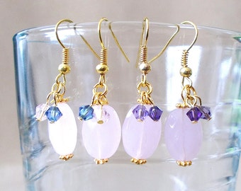 Pink Glass Bead Gold Earrings, Pink Faceted Oval Glass Bead & Crystal Dangle Earrings, Pink Purple Glass Earrings, Handmade Beaded Jewelry