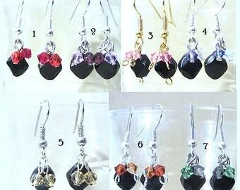 Black Onyx & Colored Crystals Pierced Dangle Earrings, Handmade Original Fashion Jewelry, Unique Retro Classic Style Modern Elegant Wedding
