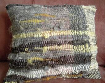 "Hand Woven Cushion  -  Natural Dyed Wool Pillow Cover - 16"" x 17.5""  Pink, grey, cream, yellow, grey handspun"