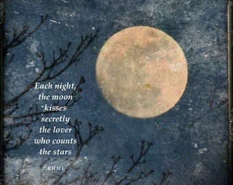 Rumi quote with full moon, moon love quote, golden moon, tree branches, word art, blue & white