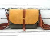 Yellow Suede Flap Front Cover Mini Green Waterproof Canvas  Bag - Brown Leather Single Strap Shoulder bag / Messenger Bag / Diaper Bag