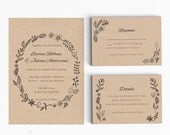 Wedding Invitation Printable Suite Printable -Rustic Wedding Invitation Printable - Ready to Print PDF - Letter or A4 Size (Item code: P947)