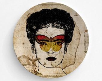 Melamine Plate Frida Kahlo - Butterfly Mask Frida - Melamine Plate - Frida Kahlo Art - Mexican Art Print - decorative plate - Dinner Plate