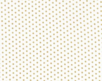 Spot on Blanc (white with gold dots) - Robert Kaufman quilting weight fabric by the yard