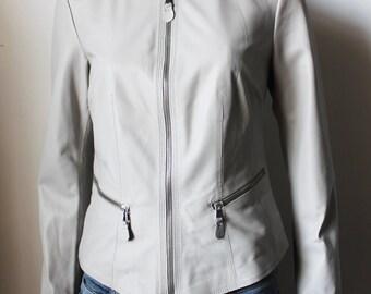 Italian handmade Women soft genuine lambskin leather jacket color Grey