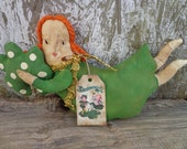Primitive St. Patrick's Day Lassie Doll Shelf Sitter with Shamrock MADE to ORDER