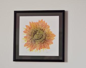Lino Cut Sunflower