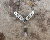 Industrial Upcycled Wire Insulator Necklace with Feminine Bling Rhinestones