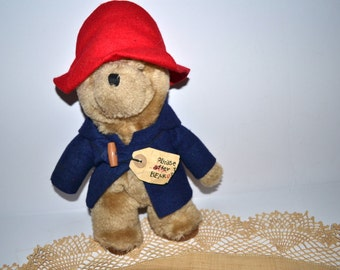 Vintage Paddington Bear  Plush Stuffed Animal Eden Toy  red hat bear Christmas gift cuddly toy 80s bear