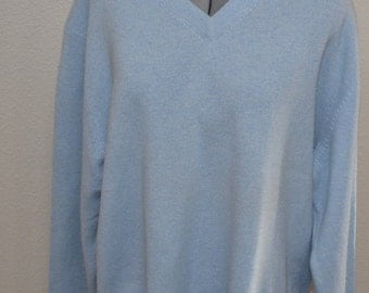 Vintage   Cashmere wool men sweater Turnbury light blue jacket 90s V-neck pullover  Size XL Christmas sweater gift