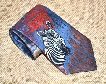 Vintage 90s Endangered Wildlife cravateur Zebra Tie mens  animal lovers collection Mad Men Office  Fathers Day gift for him