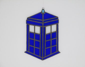 Stained Glass Tardis Suncatcher - Price Includes Shipping