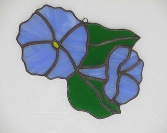 Stained Glass Morning Glory Suncatcher Light Blue