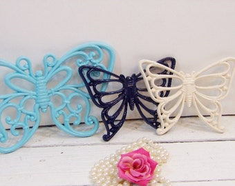 Three Vintage Butterflies Nursery Girls Room Homco Syroco Blue and Ivory