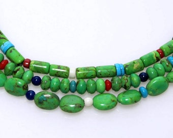 Green Mohave Turquoise Multi Strand Necklace, Semi Precious Gemstones, Sterling Silver, Designer Quality