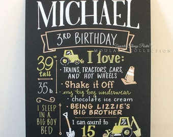 "3rd birthday chalkboard style custom ink drawing, 11""x14"" art board, the original Favorite Things Poster™"