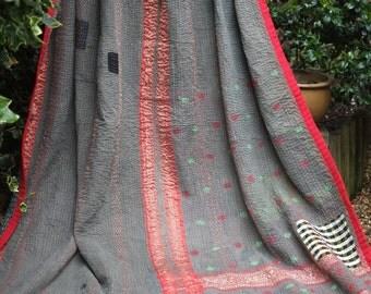 Kantha quilt, Red & Gray Kantha, Sari Blanket, Blue Kantha, Vintage kantha quilt, Gray kantha, Kantha Blanket, Vintage Kantha,