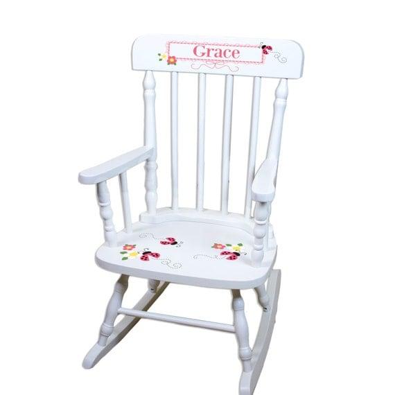 Personalized Ladybug Rocking Chair Girls Custom Childs White Rocker w ...