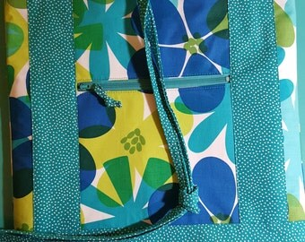 Floral Dots Drawstring Backpack Purse Bag Michael Miller teal white green blue