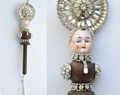 mixed media assemblage, Grand Dutchess 110, original art dolls, doll head ornament, by Elizabeth Rosen