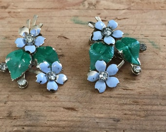 Vintage enamel and rhinestone blue flower earrings
