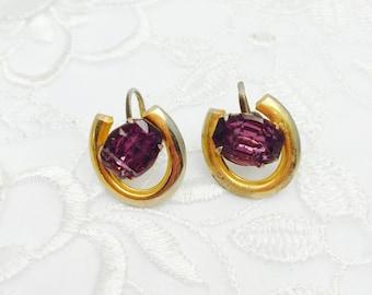 Vintage Amethyst Color Screw On Earring, Rhinestones, Stamped STERLING , Item No.B 153