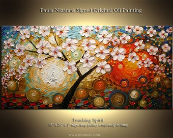 Touching Spirit - Original Oil Painting, pallete knife thick texture Contemporary Art, Luxury Look, Tree White Blooms, by Nizamas