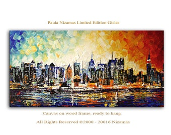 New York Giclee Print  on canvas Interior decor by Paula ready to hang cityscape