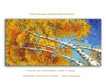 Aspen Birch Trees - Abstract Art Giclee on canvas Home wall  Decor Paula Nizamas Ready to hang