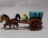 VTG Wooden Pioneer Conestoga Wagon & Horse Japan
